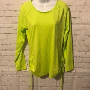 LL BEAN neon green compression shirt cinched sides